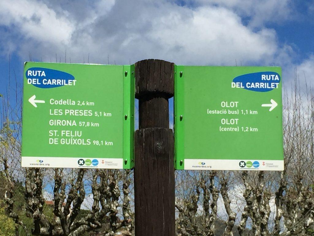 Cartello Olot Girona ruta del carrilet